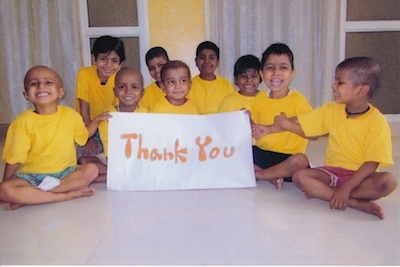 A 'thank you' note from children treated at the St. Jude India Childcare Centres